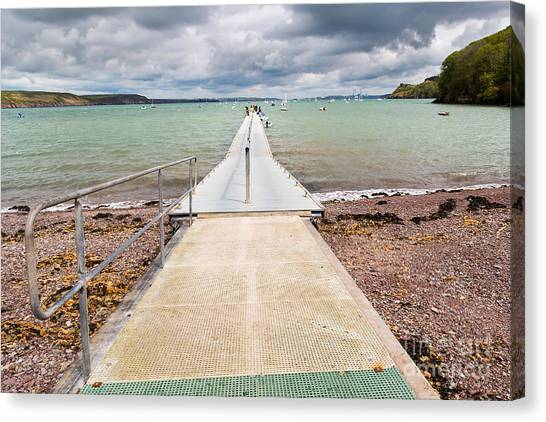 British Canvas Print - Jetty At Dale  A Small Village On The by Ian Woolcock