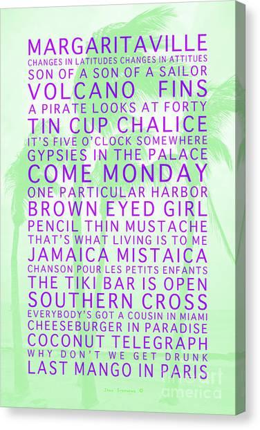 It Professional Canvas Print - Jimmy Buffett Songs We Know By Heart Purple Font Light Green Palms by John Stephens