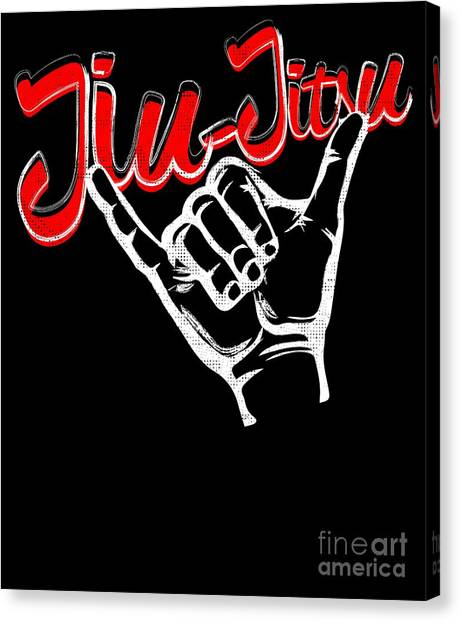 Jujitsu Canvas Print - Jiu Jitsu Bjj Jiu Jitsu Rolling Hands Red Light by J P