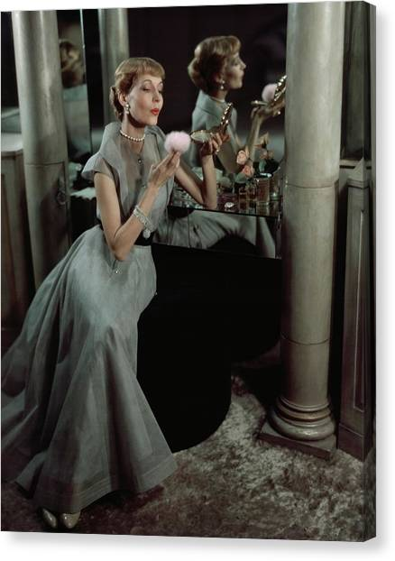 Jo Copeland In A Gray Dress Canvas Print by Horst P. Horst