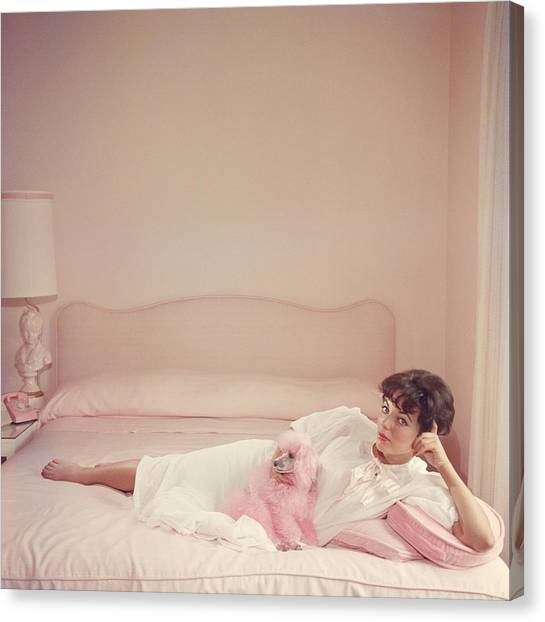 Joan Collins Relaxes Canvas Print