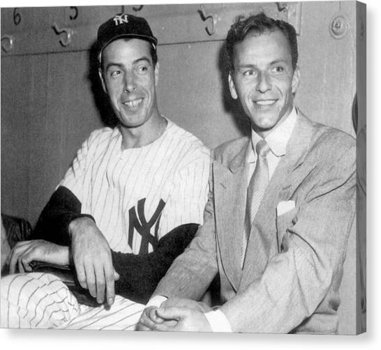 Joe Dimaggio And Frank Sinatra At Canvas Print by New York Daily News Archive