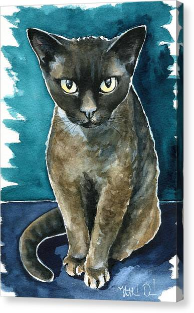 Joey - Devon Rex Cat Painting Canvas Print