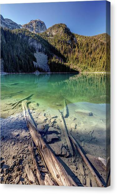 Canvas Print featuring the photograph Joffre Lake Middle On A Calm Sunny Morning by Pierre Leclerc Photography