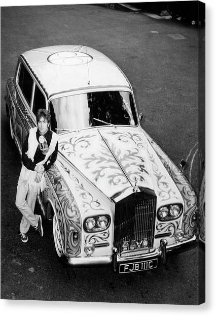 John Lennon In Front Of His Rolls Canvas Print