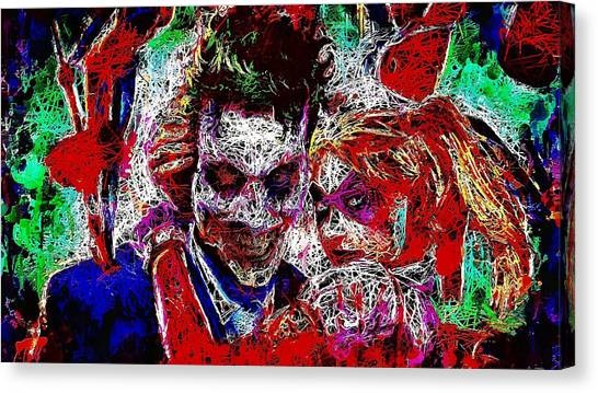 Canvas Print featuring the mixed media Joker And Harley Quinn 2 by Al Matra