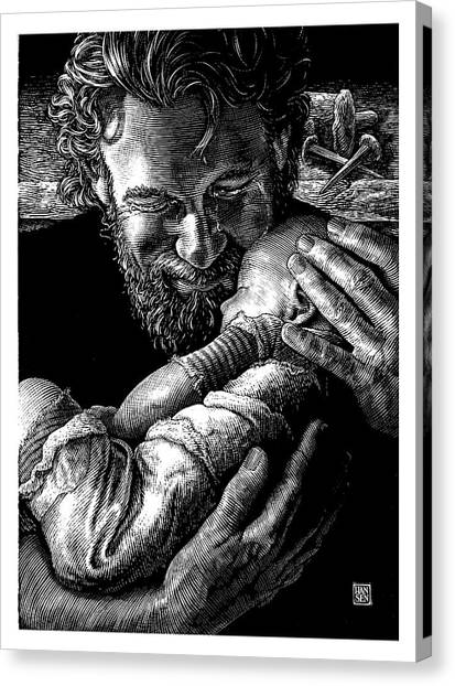 Canvas Print featuring the drawing Joseph by Clint Hansen