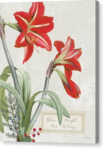Amaryllis Canvas Print - Joyful Tidings I by Sue Schlabach