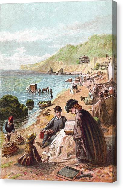 July - Victorians At The Seaside Canvas Print by Whitemay
