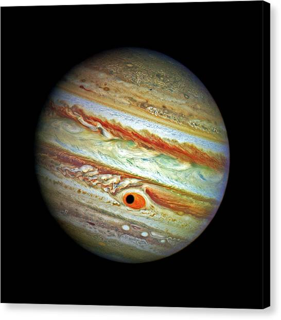 Canvas Print featuring the photograph Jupiter And Ganymead Shadow Outer Space Image by Bill Swartwout Fine Art Photography