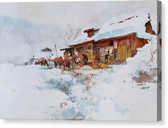 Ice Climbing Canvas Print - Kagosaka Pass - Digital Remastered Edition by Yoshida Hiroshi