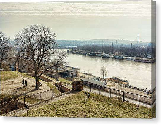 Canvas Print featuring the photograph Kalemegdan Park Fortress In Belgrade by Milan Ljubisavljevic