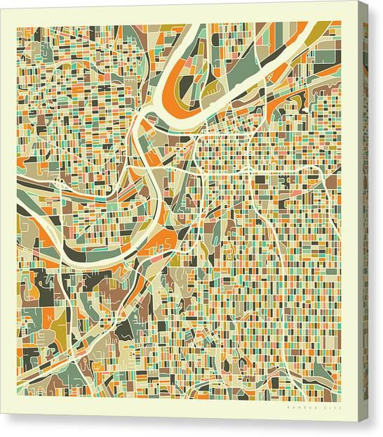 Kansas Canvas Print - Kansas City Map 1 by Jazzberry Blue