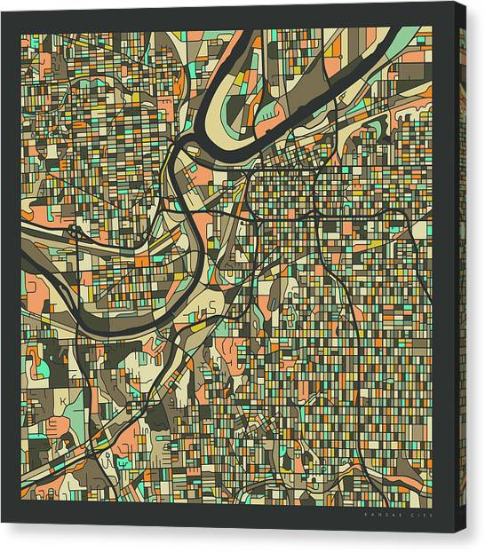 Kansas Canvas Print - Kansas City Map 2 by Jazzberry Blue