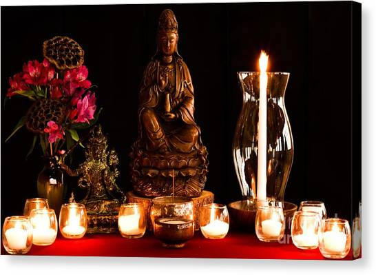 Canvas Print featuring the photograph Kanzeon Bosatsu - Zen Altar by Lita Kelley