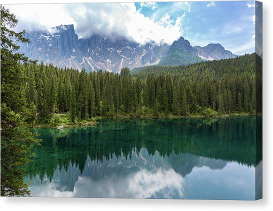 Karersee And Latemar Canvas Print