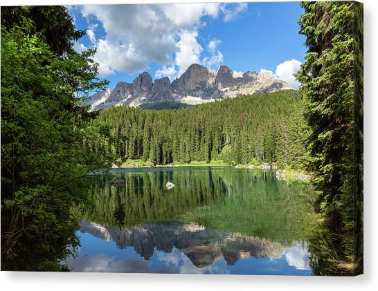 Karersee And Rosengarten Group Canvas Print