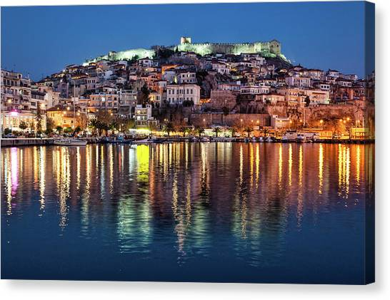 Canvas Print featuring the photograph Kavala Town At Night by Milan Ljubisavljevic