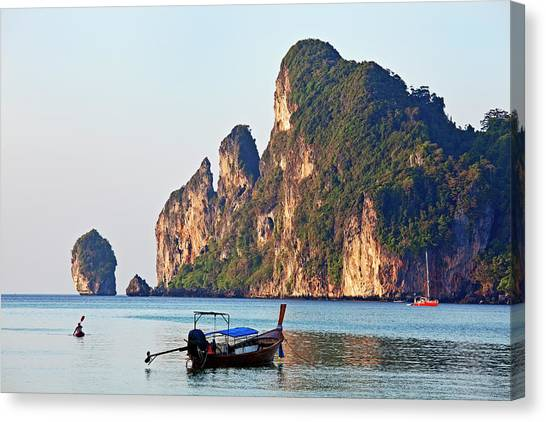 Phi Phi Island Canvas Print - Kayak And Boat  Koh Phi Phi Don by John W Banagan