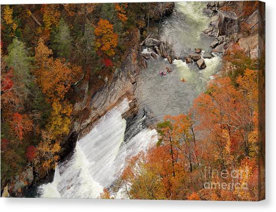 Appalachian Canvas Print - Kayakers Contemplate Going Down A Rapid by Esb Professional