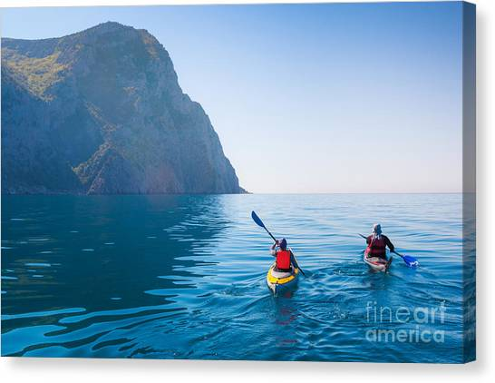 Canoe Canvas Print - Kayaking In The Sea From Back View by Kuznetcov konstantin