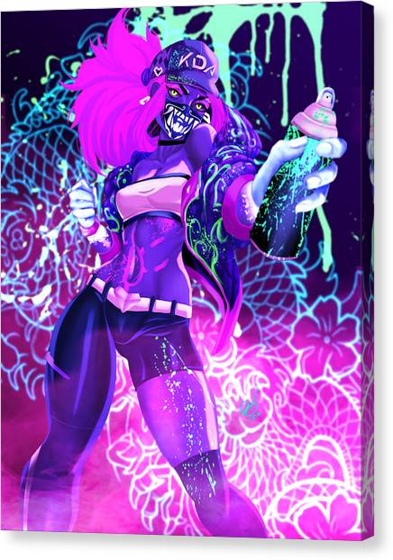 Canvas Print featuring the painting Kda Akali by Pete Tapang