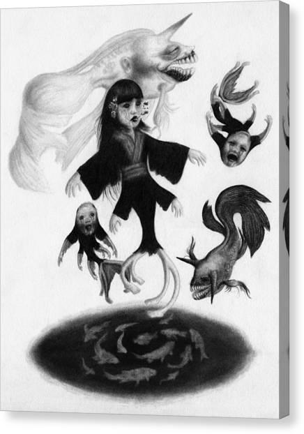 Keiko Among The Koi - Artwork Canvas Print