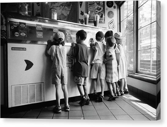 Kids At Ice Cream Counter Canvas Print