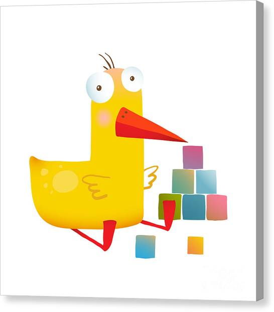 Humorous Canvas Print - Kids Duck Playing Cubes Funny Toy by Popmarleo