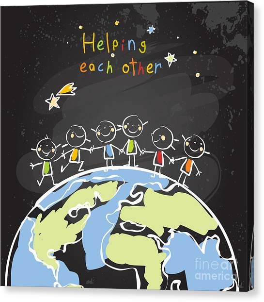 Block Canvas Print - Kids Helping Each Other, Global by Lavitrei