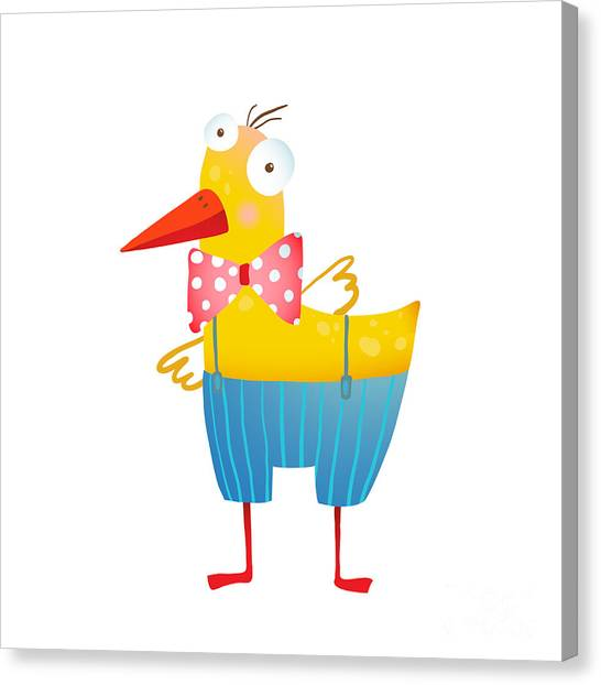 Humorous Canvas Print - Kids Humorous Yellow Duck With Bow Tie by Popmarleo