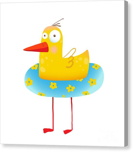 Humorous Canvas Print - Kids Humorous Yellow Duck With Swimming by Popmarleo