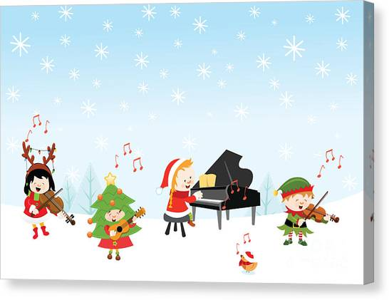 Presents Canvas Print - Kids Playing Christmas Songs by Pinar Ince