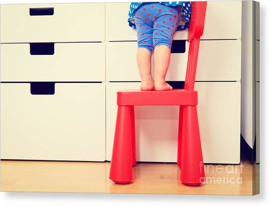 Indoors Canvas Print - Kids Safety Concept- Little Girl by Nadyaeugene