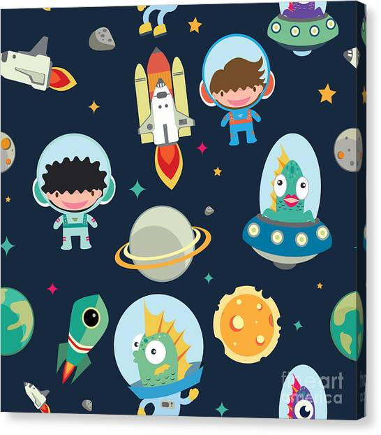 Solar System Canvas Print - Kids Space Seamless Pattern by Moobeer