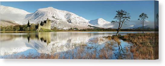 Canvas Print featuring the photograph Kilchurn Castle - Loch Awe - Winter Morning by Grant Glendinning