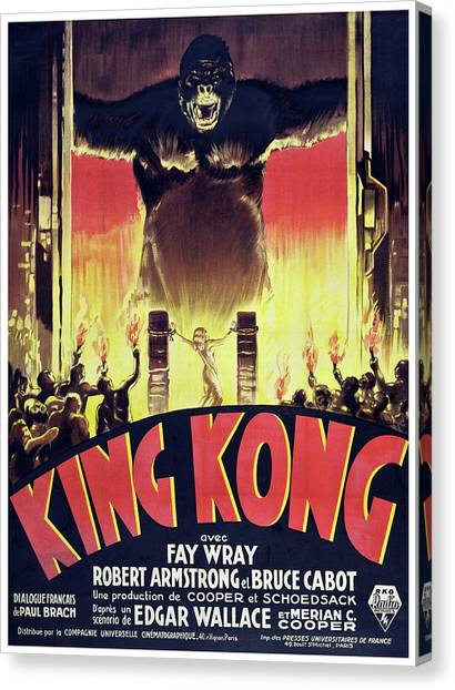 Donkey Kong Canvas Print - King Kong Classic Movie Poster by Filip Hellman