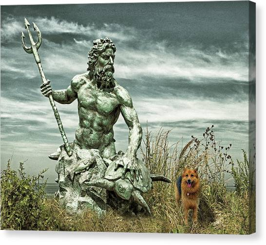 Canvas Print featuring the photograph King Neptune And Miss Hanna At Cape Charles by Bill Swartwout Fine Art Photography