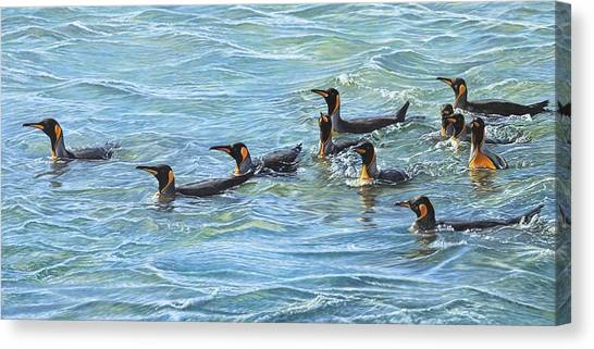 Canvas Print featuring the painting King Penguins Swimming by Alan M Hunt