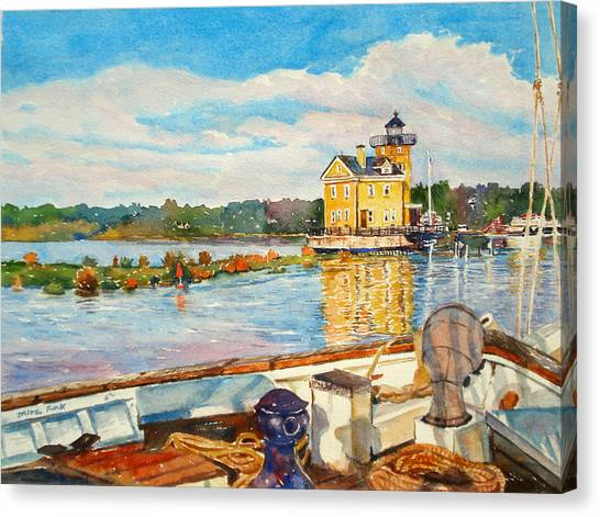 Kingston Lighthouse From The Sloop Clearwater Canvas Print by Mira Fink