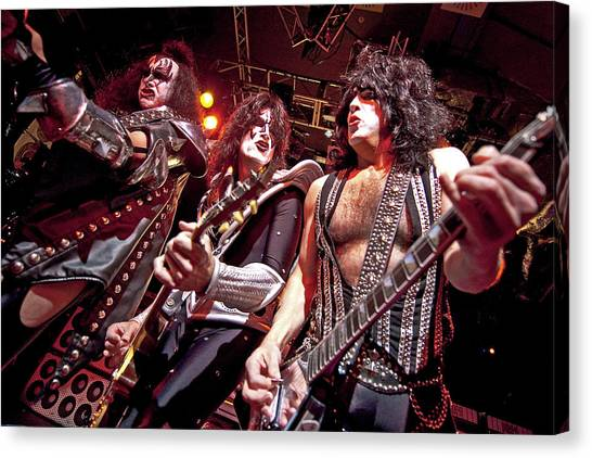 Kiss Perform At The O2 Islington Canvas Print by Neil Lupin