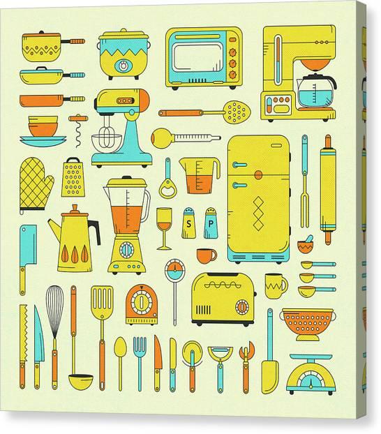 Utensil Canvas Print - Kitchen Utensils And Appliances by Jazzberry Blue