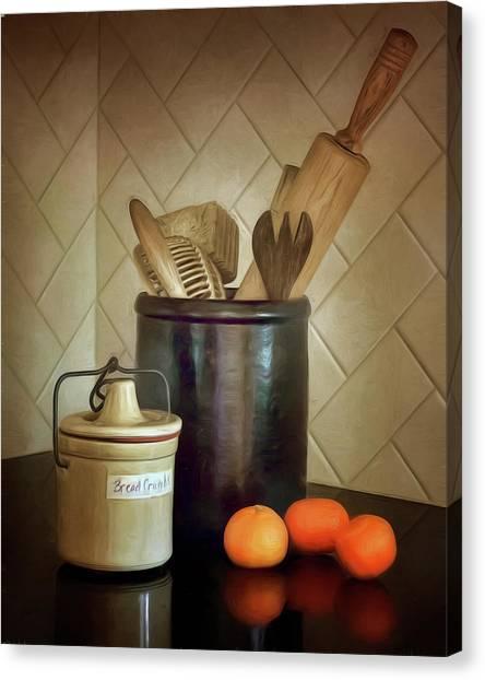Crock Canvas Print - Kitchen Utensils - Bread Crumbs - Mandarin Oranges by Nikolyn McDonald