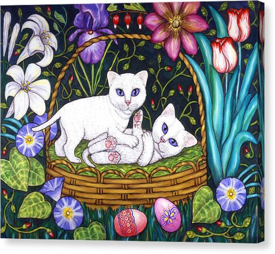 Easter Baskets Canvas Print - Kittens In A Basket by Linda Mears