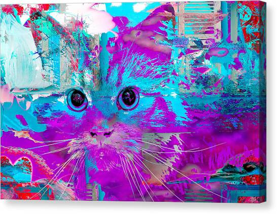Kitty Collage Blue Canvas Print