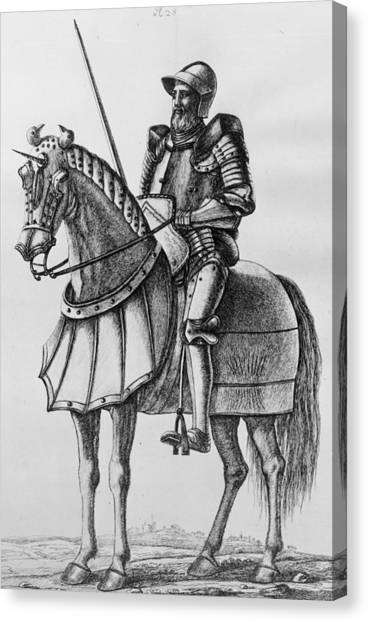 Knight In Armour Canvas Print by Hulton Archive