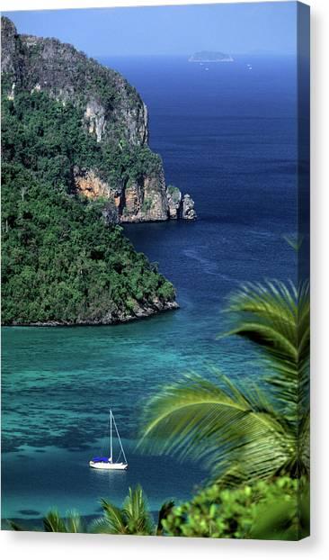 Phi Phi Island Canvas Print - Ko Phi Phi Don, Yacht At Anchor by John Seaton Callahan