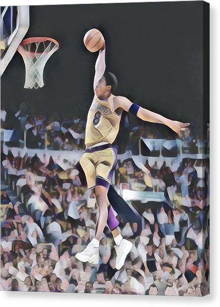 Kobe Bryant Canvas Print - Kobe Bryant 8 Los Angeles Lakers Abstract Art 1 by Joe Hamilton