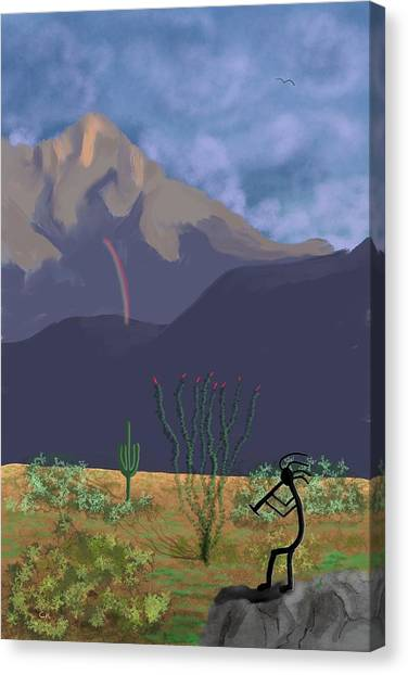 Canvas Print featuring the digital art Kokopelli And Mount Wrightson by Chance Kafka