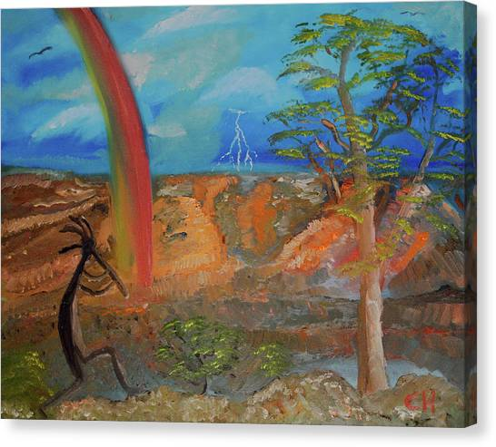Canvas Print featuring the painting Kokopelli Calls The Storm by Chance Kafka